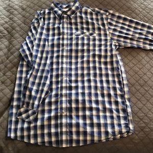 Men's Wrangler XL Blue Button-Down Western Shirt